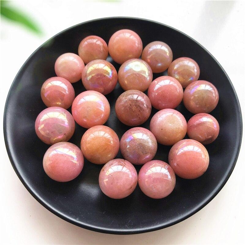2pcs Natural Jasper Stone Small Sphere Titanium Coating Pink Aura Electroplating Jade Ball