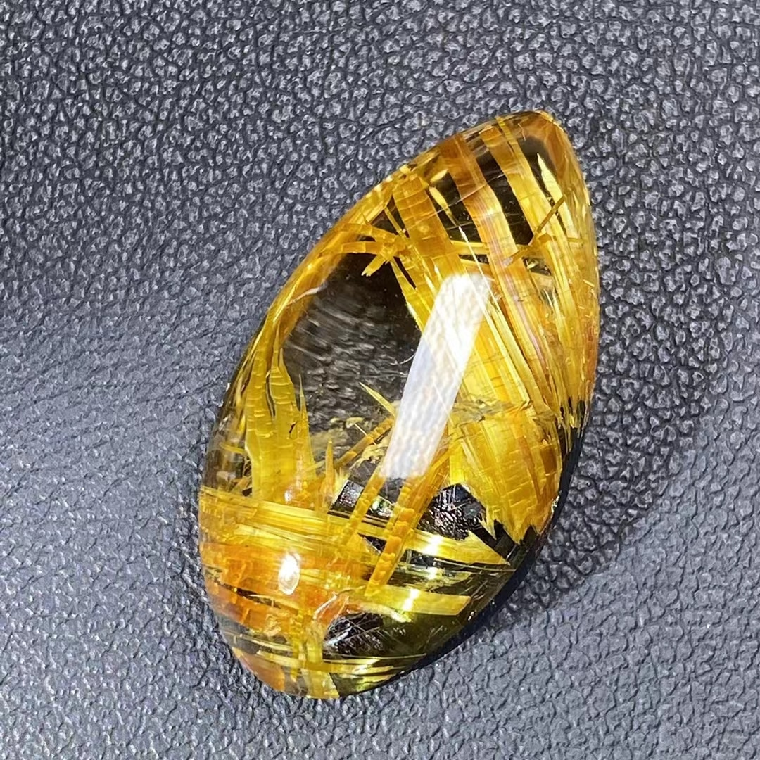 Natural Gold Rutilated Quartz Wealthy Pendant 25*14*9mm Water Drop Brazil Fashion Necklace Jewelry AAAAAA