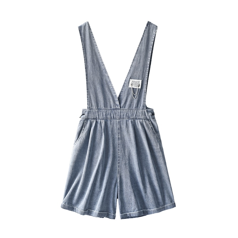 Shuchan Denim Cotton Rompers Womens Jumpsuit Shorts  High Street  High Waist  Rompers&Playsuits  One Piece Jumpsuit