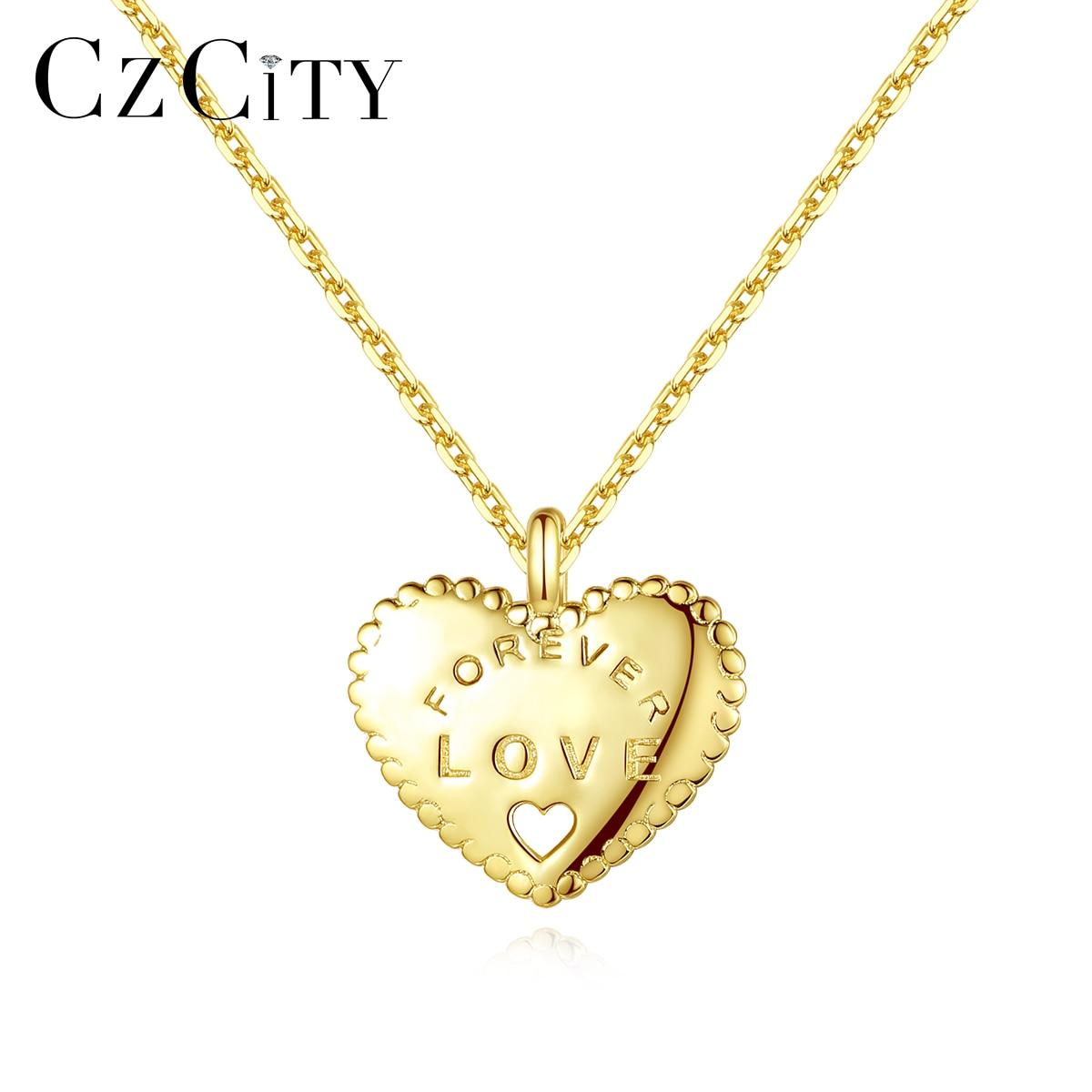 CZCITY, Plata de Ley 925 auténtica para siempre, collares con colgantes de amor y corazones para chicas que datan, joyería fina, Collar de plata, regalo SN0391