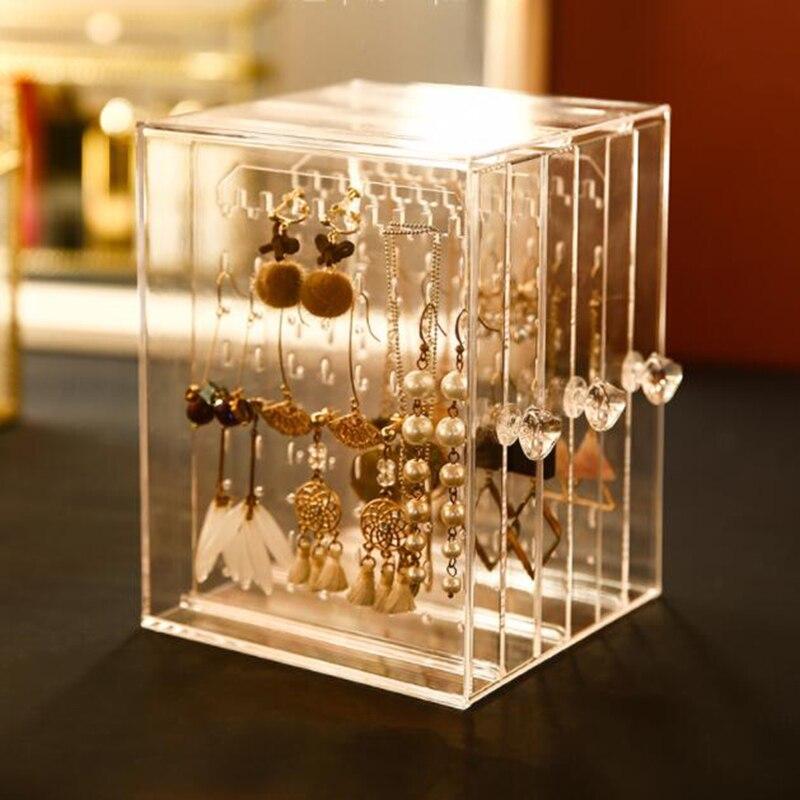 صندوق تخزين مجوهرات شفاف ، صندوق عرض مجوهرات ، صندوق بلاستيك ، درج عمودي