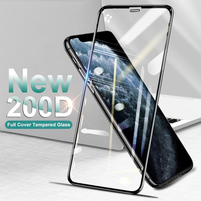 Vidrio Protector de la cubierta completa curvada 200D para el iPhone SE 11 Pro Max X Xs Protector de pantalla templado iPhone XR 8 7 Plus Glass