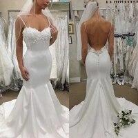 2020 boho appliques wedding dresses sexy spaghetti straps backless satin bridal gowns sweep train beach cheap robes de mari%c3%a9e