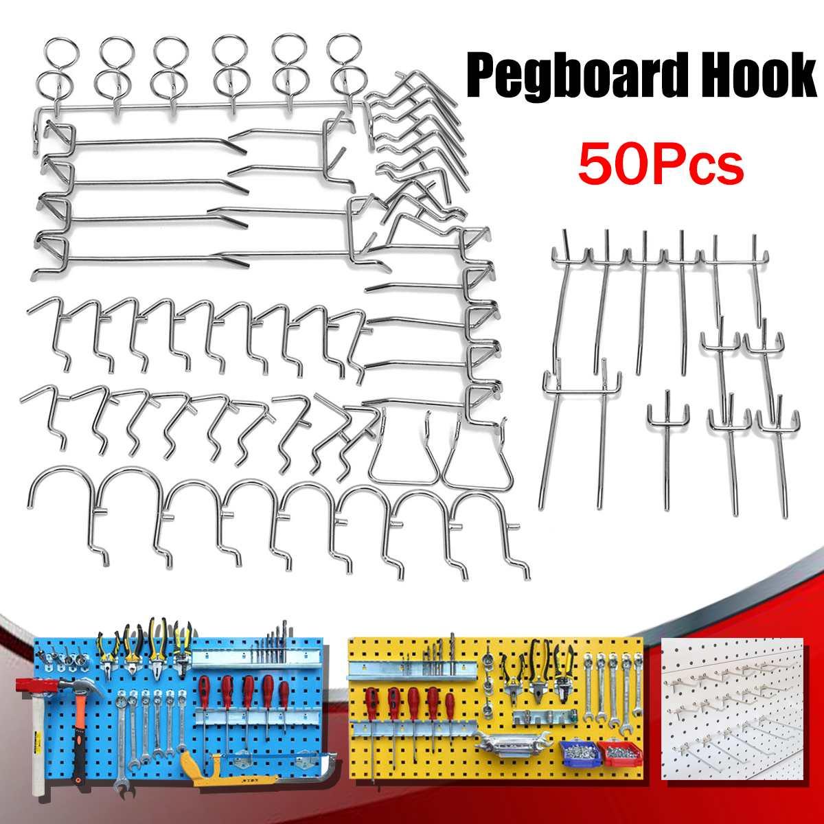 50X Stores Pegboard Hooks Assortment Organizing Hange Kit Market Storage Garage Hanging Tool Storage Hooks