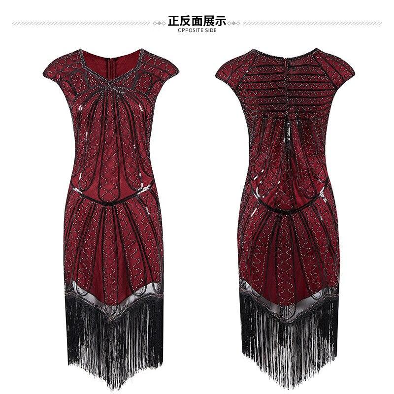Disfraz de adulto mujer Glam vestido-vestido rojo Sexy-años 20 vestido de fiesta noche Retro lentejuelas vestido
