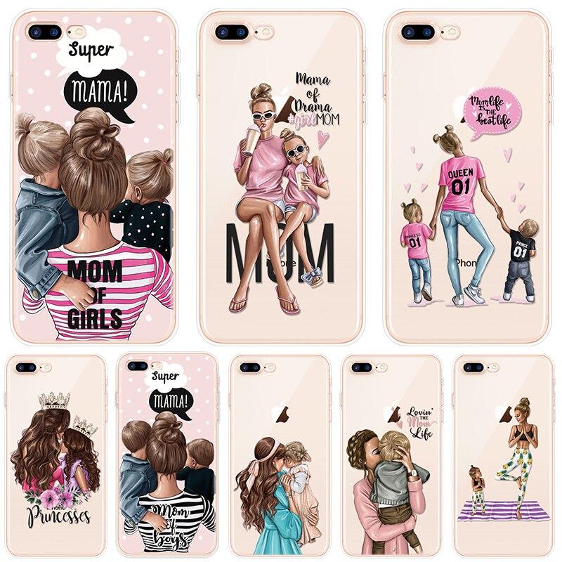 Fashion Black Brown Hair Baby Mom Girl Case For iPhone XR X Case for iphone 7 8 6s 6 Plus TPU for iphone XS 11 Pro Max SE 2 2020
