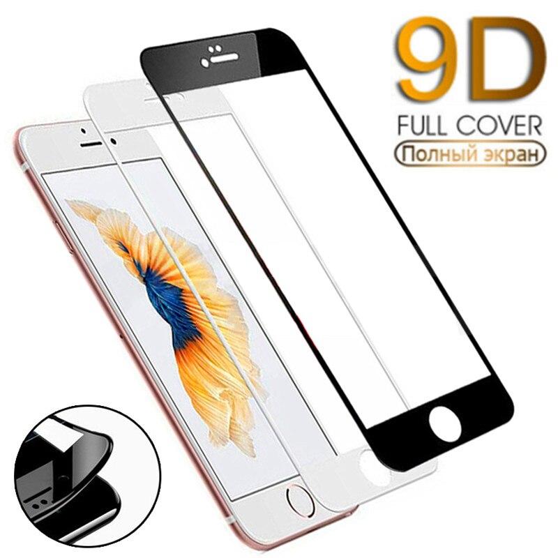 Защитное стекло 9D, закаленное стекло с закругленными краями для iPhone 7 6 6S 8 Plus SE X XR XS 11 Pro Max
