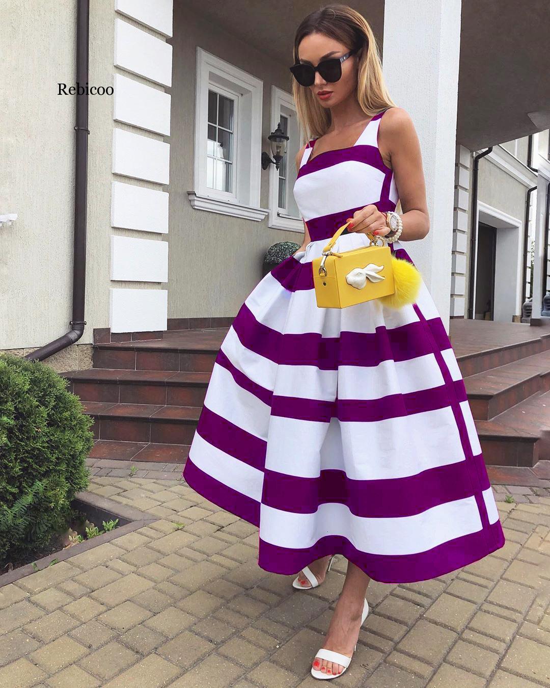 Vestido de fiesta largo hasta el té en RAYA ROJA púrpura, negro, azul, Morado, con tirantes finos, cintura estrecha, elegante, bohemio, con corte en A