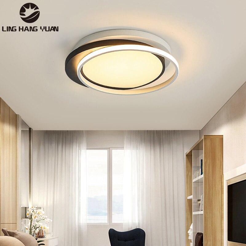 Современные светодиодные потолочные лампы в черно-белой оправе, Светильники для спальни, гостиной, столовой, потолочные светильники, декор...