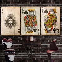 vintage poker playing cards canvas painting posters and prints wall art bar pub decoration pictures for home design bedroomdecor