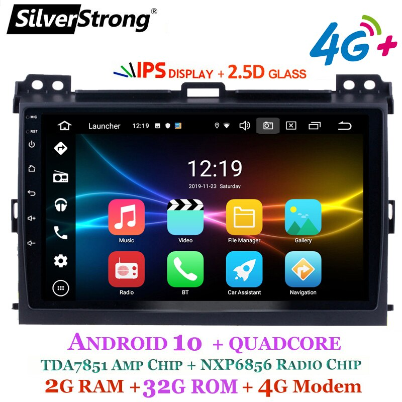 2.5D Android10.0 IPS 4G 32GB GPS para coche para Toyota Prado 120 Land Cruiser SilverStrong android Prado120 para PIONEER/JBL amp