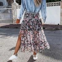 bohemian chiffon long skirt for women floral printed split beach style a line skirt female boho skirt 2021 spring summer clothes