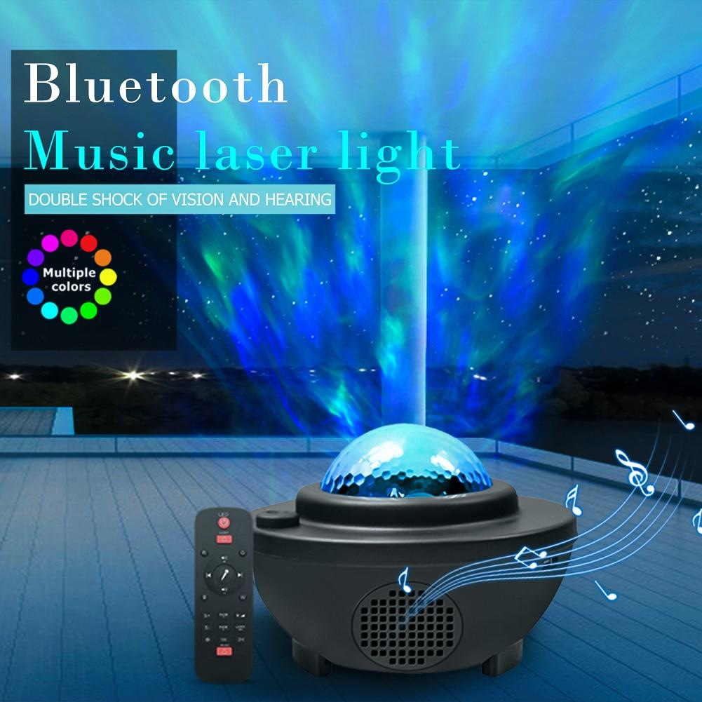 2020 LED proyector de luz láser cielo estrellado agua ondeando romántico USB Bluetooth reproductor de música Control remoto lámpara activada por sonido