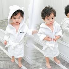Fashionable 2019 Kids Bath Robes Winter Baby Kids Bathrobe Solid Color Flannel Bathgrowns for Toddler Girls Soft Belt Pyjamas