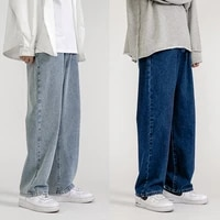 mens jeans fashion loose straight new casual wide leg pants cowboy mans streetwear korean hip hop trousers spring summer jeans