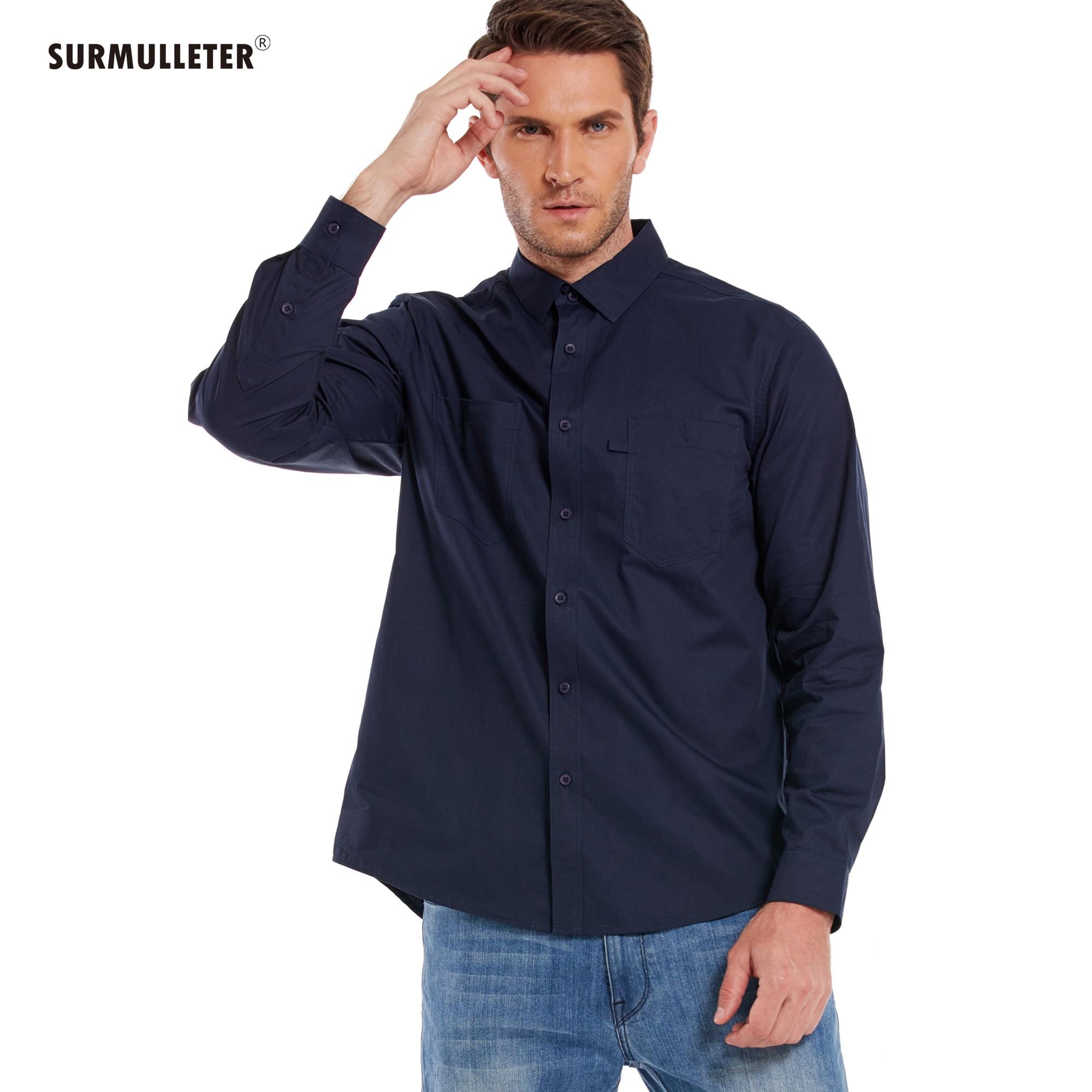 Men Casual Shirt 100%Cotton Long Sleeve safari Plain Style New Fashion Brand SURMULLETER