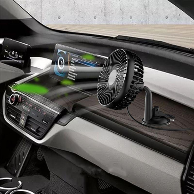 Suction Cup Single Head 5.5 Inch Car Fan 12V24V Universal Large Wind Three Speed Control USB Car Fan Camper