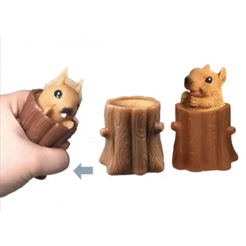 Squeeze Squirrel Cup Children's Toys, Evil Decompression Tree Stumps,Rubber Fidget Toys, Pen Holders Gifts for Girlfriend enlarge