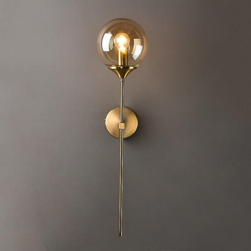 Lámpara de pared de bola de vidrio incandescente moderna lámpara de pared dorada nórdica decoración del hogar dormitorio baño luces de espejo luminaria interior