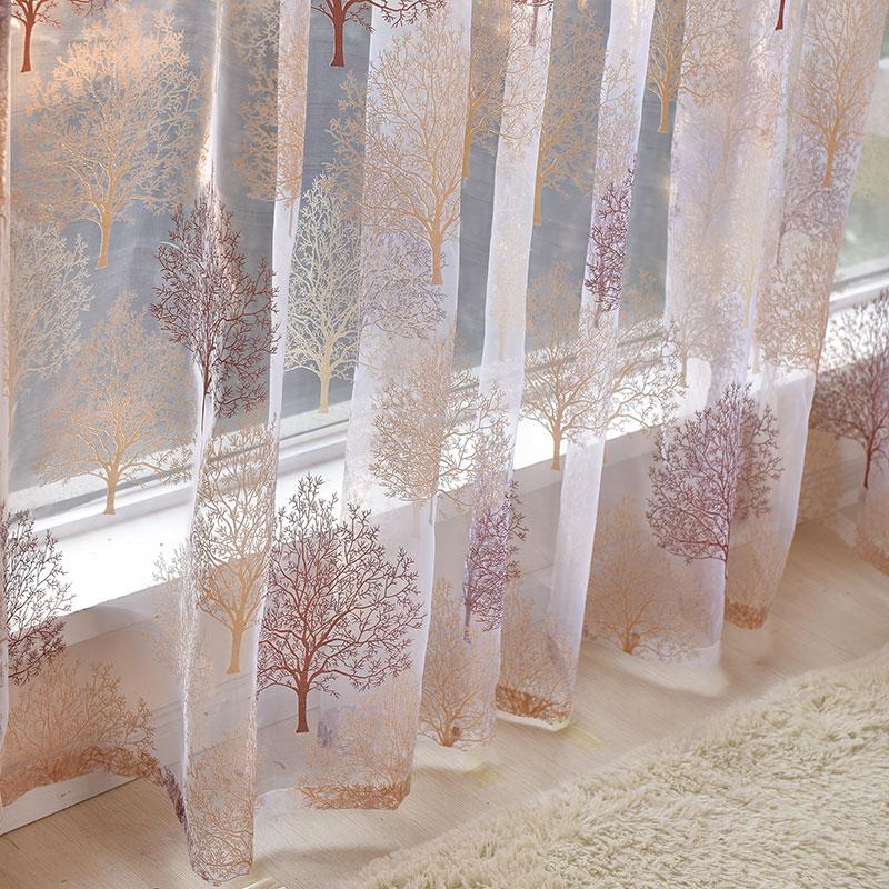Cortina de tul estampada para el tratamiento de la ventana de la sala de estar cortina con Voile transparente japonesa para el Panel de persiana terminada de la cortina de la cocina del dormitorio