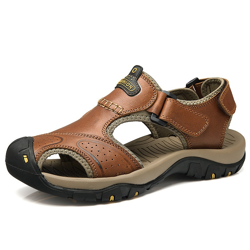 Men Sandals Genuine Split Leather Men Beach Roman Sandals Brand Men Casual Shoes Flip Flops Men Slip