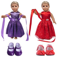 Doll Sequin Fashion Dress Dance Skirt For 18 Inch American Doll & 43 Cm Born Baby Generation Christm