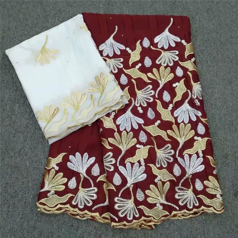 Increíble ropa tela 5Y Africana tela de encaje de algodón y 2y suizo de la gasa tela para vestido YCV74 (5 + 2y)