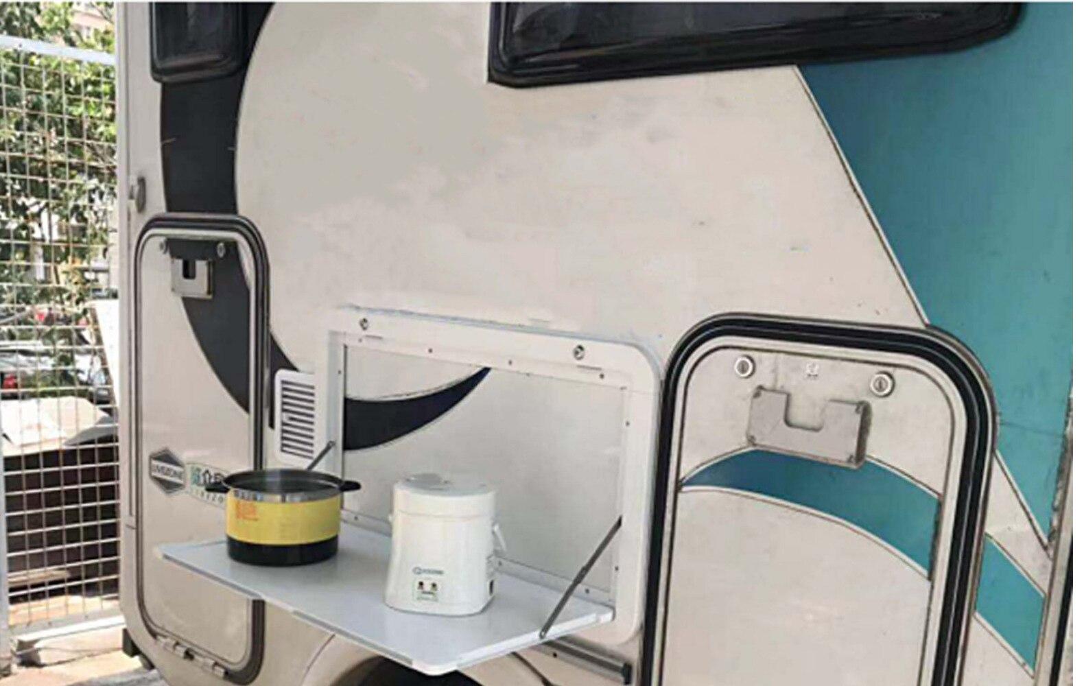 800*450mm RV Outdoor External Folding Dining Table Caravan Camper Travel Trailer Folded With Locked Round Corner Motorhome enlarge