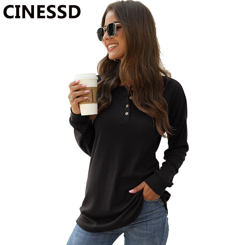 CINESSD mujer Casual camiseta negro cuello en V manga larga botón sólido suelta camisetas Oficina señora gris Pullover suave túnica delgada camiseta