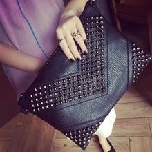 Tidal Rivet Hand Grab Bag Fashionable Men and Woman Leisure Single Shoulder Bag.