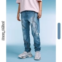 new fashion wash printed mens jeans four season punk style streetwear button fly casual straight denim pants for girls 9718