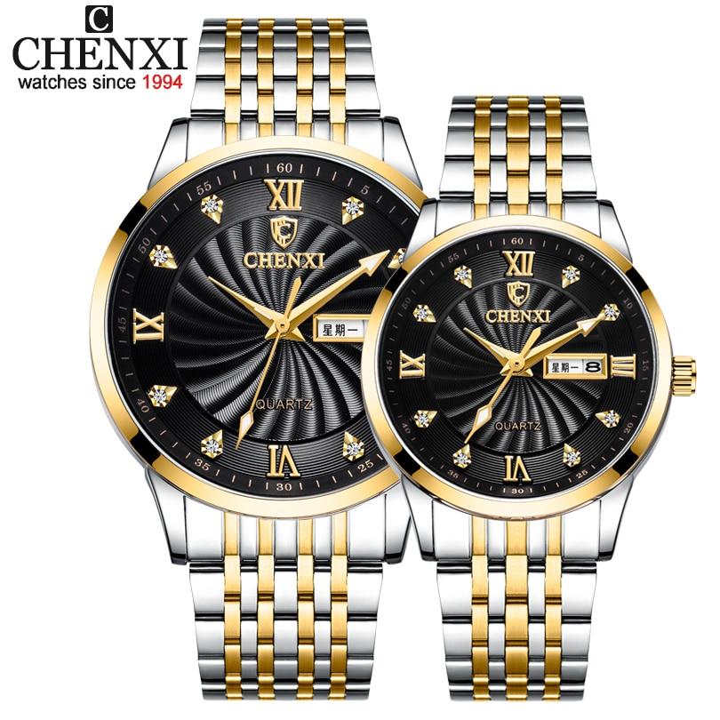 CHENXI New Couple Watches Luxury Brand Women or Men Watches Quartz Date week Clock Wristwatches Fema