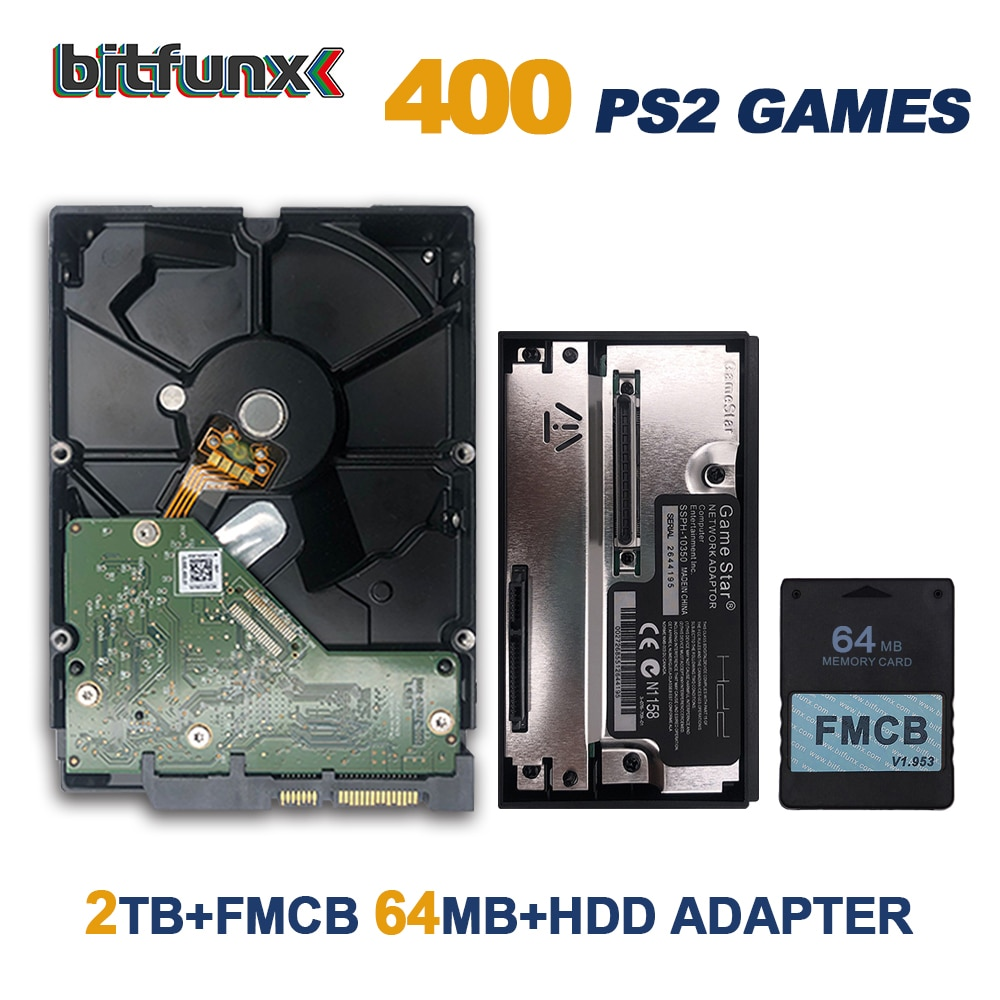 BitFunx GameStar SATA HDD محول + FMCB V1.953 بطاقة الألعاب ل PS2 بلاي ستيشن 2 + SATA الهارد دسك HDD مع الألعاب