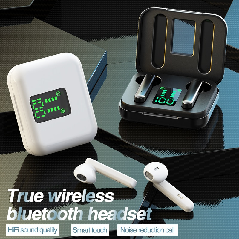 Auriculares inalámbricos TWS con Bluetooth 5,0, dispositivos de audio deportivos, resistentes al...