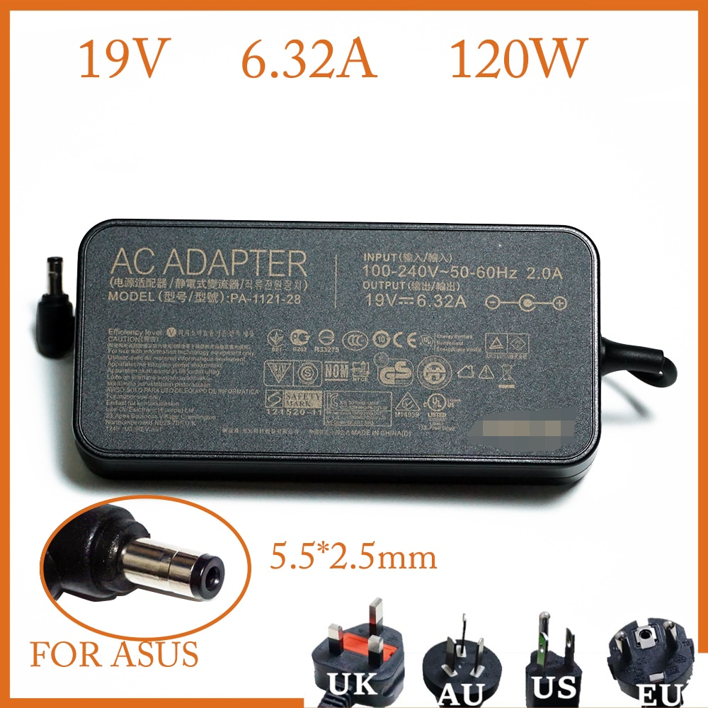 19V 6.32A 5.5*2.5mm 120W Laptop Adapter Notbook Power Supply For Asus N550 K53 N750 N500 N56V N53S G