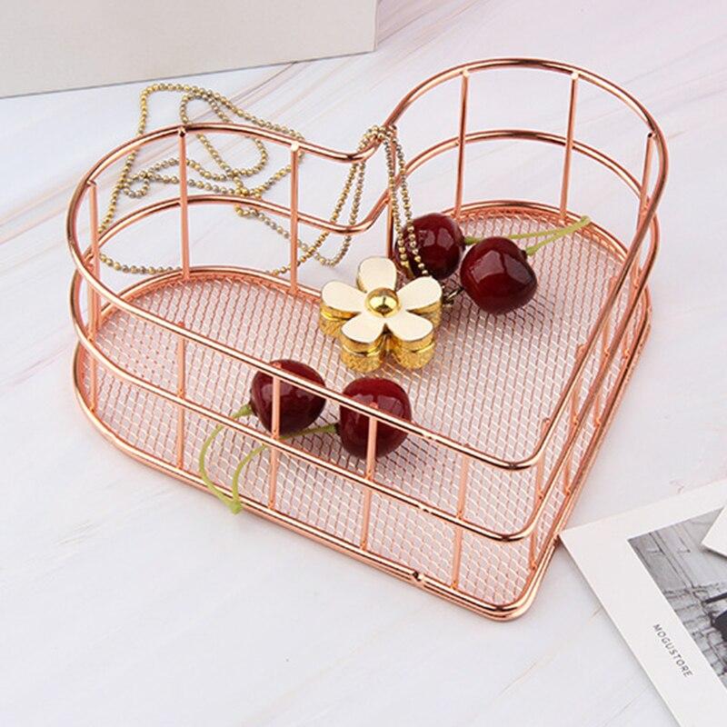 1 pçs em forma de coração rosa ouro ferro cosméticos caixa de armazenamento delineador escova cesta de armazenamento penteadeira cesta de armazenamento oco