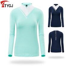 Vêtements de sport de golf dété femmes à séchage rapide à manches longues vêtements de protection solaire T-shirt col haut fermeture éclair stretch chemise de sport