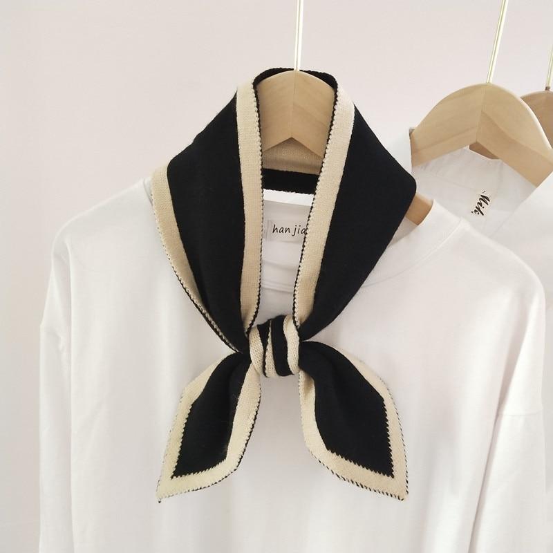 Pañuelo pequeño de punto de Color puro para mujer, versión coreana, bufanda...