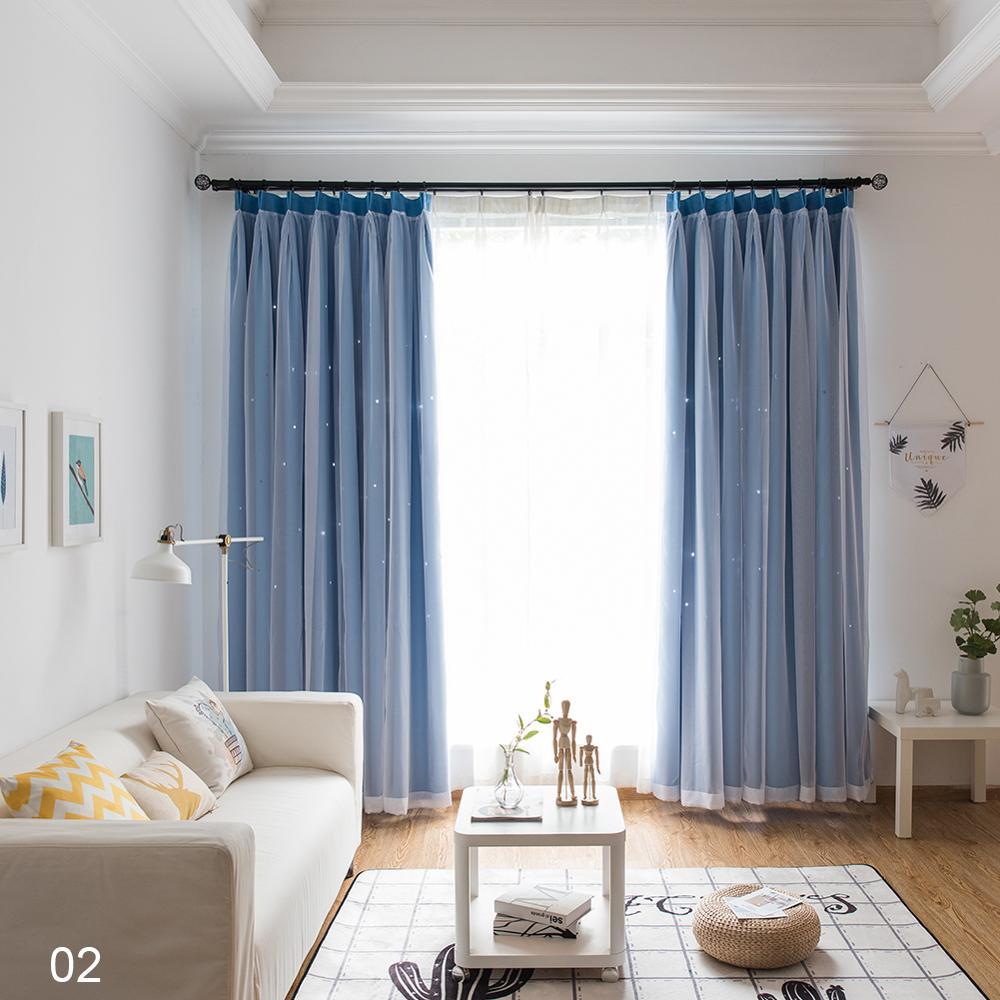 Venda quente 2 camadas oco estrela isolamento térmico blackout para sala de estar quarto janela cortinas costuradas com voile branco