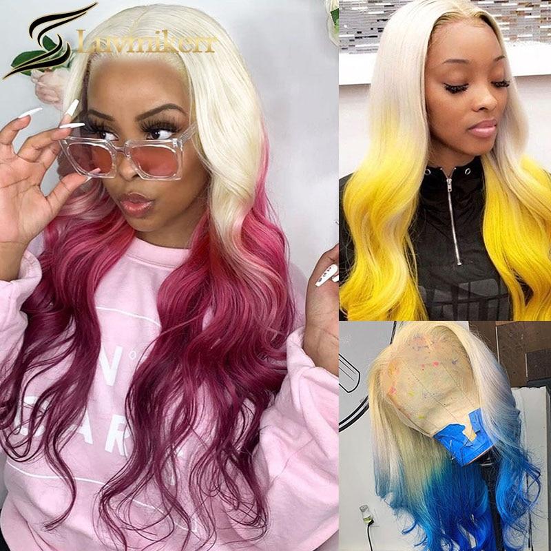 Парик телесной волны 613 блонд Омбре синий цветной желтый 13x6 на сетке фронтальный парик Полный 180 предварительно выщипанный Hd прозрачный пар...
