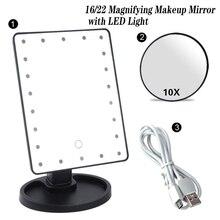 20/16 led éclairé maquillage miroir écran tactile Portable à piles USB charge loupe lampe de table miroir cosmétique
