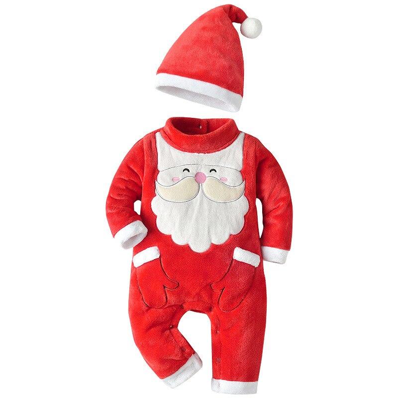 Con sombrero Bebé Ropa de navidad papa noel Navidad mono niños ropa de fiesta de Navidad mamelucos del bebé traje de invierno