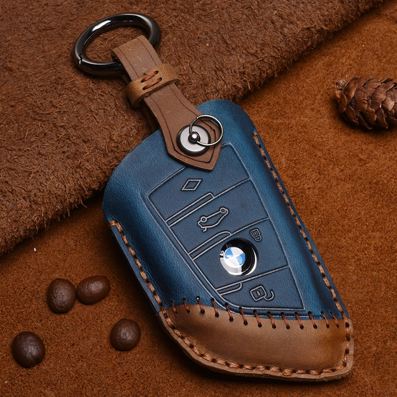 Кожаный чехол для автомобильного ключа для BMW 1 2 3 4 5 7 Series X1 X3 X4 X5 X6 X7 118i 120i 320i 328i 520i 525i 218i 225i M3