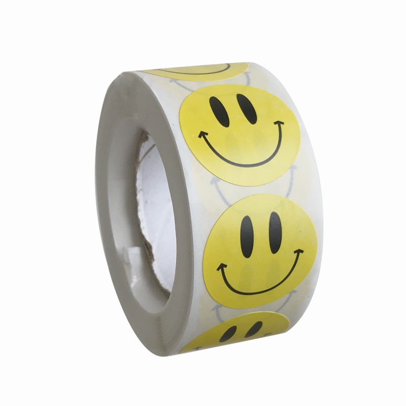 500-pz-rotolo-adesivo-faccina-carina-per-bambini-bambini-ricompensa-etichette-gialle-kawaii-happy-smile-face-sticker-diario-notebook