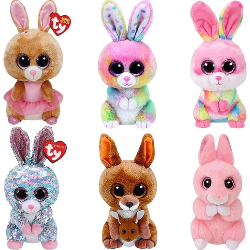 15 см Ty бини с большими глазами, двусторонние блестки, Красочная Серия, кролик, плюшевые игрушки, мягкие игрушки-животные, рождественские под...