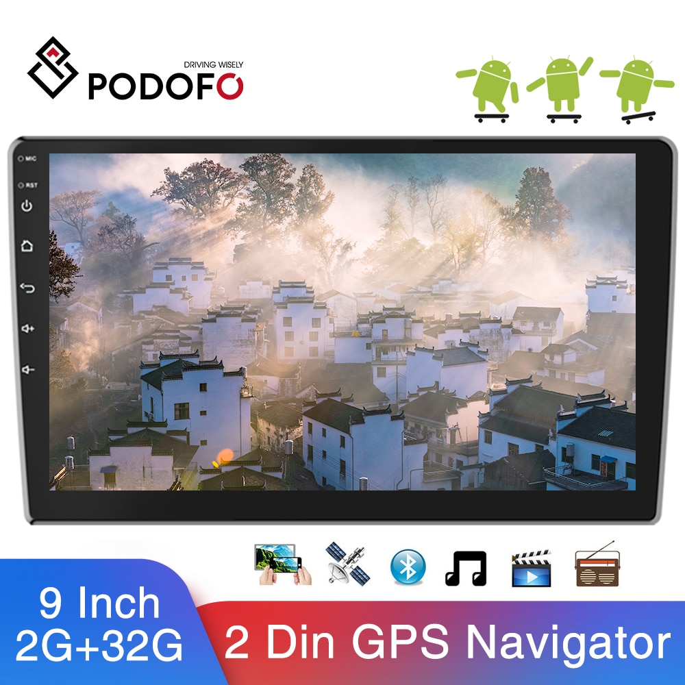 Podofo-راديو السيارة مع مشغل الوسائط المتعددة ، GPS ، Bluetooth ، WIFI ، Mirrorlink ، MP5 ، 9 بوصة ، Android