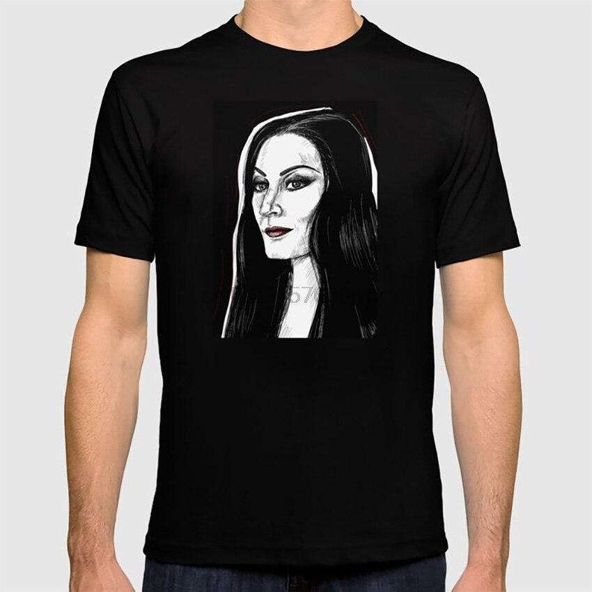 Morticia Addams T shirt addams rodzina upiorny halloween goth czarno-biała czaszka duch