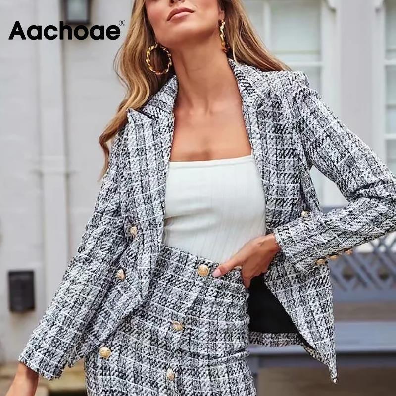Aachoae معاطف نسائية عتيقة منقوشة من التويد سترات أنيقة مزدوجة الصدر معاطف طويلة الأكمام ملابس عصرية ملابس خارجية