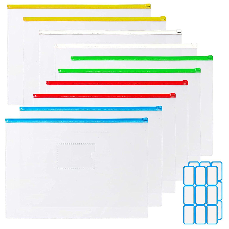 12 шт./компл. A4/A6 ПВХ прозрачные водонепроницаемые конверты, напильники, сумки-карандаши, 5 цветов, молнии, сумки с 2 наклейками