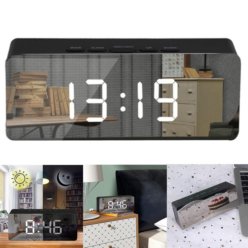 Reloj despertador Digital con espejo LED, reloj de mesa con despertador, pantalla electrónica de gran temperatura y duración, reloj decorativo para el hogar